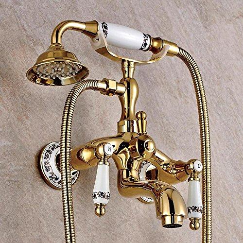 Europäischen Kupfer Wand-Bad-Mixer verGoldet Gold Bad Dusche Doppel-Griff Dusche Armaturen