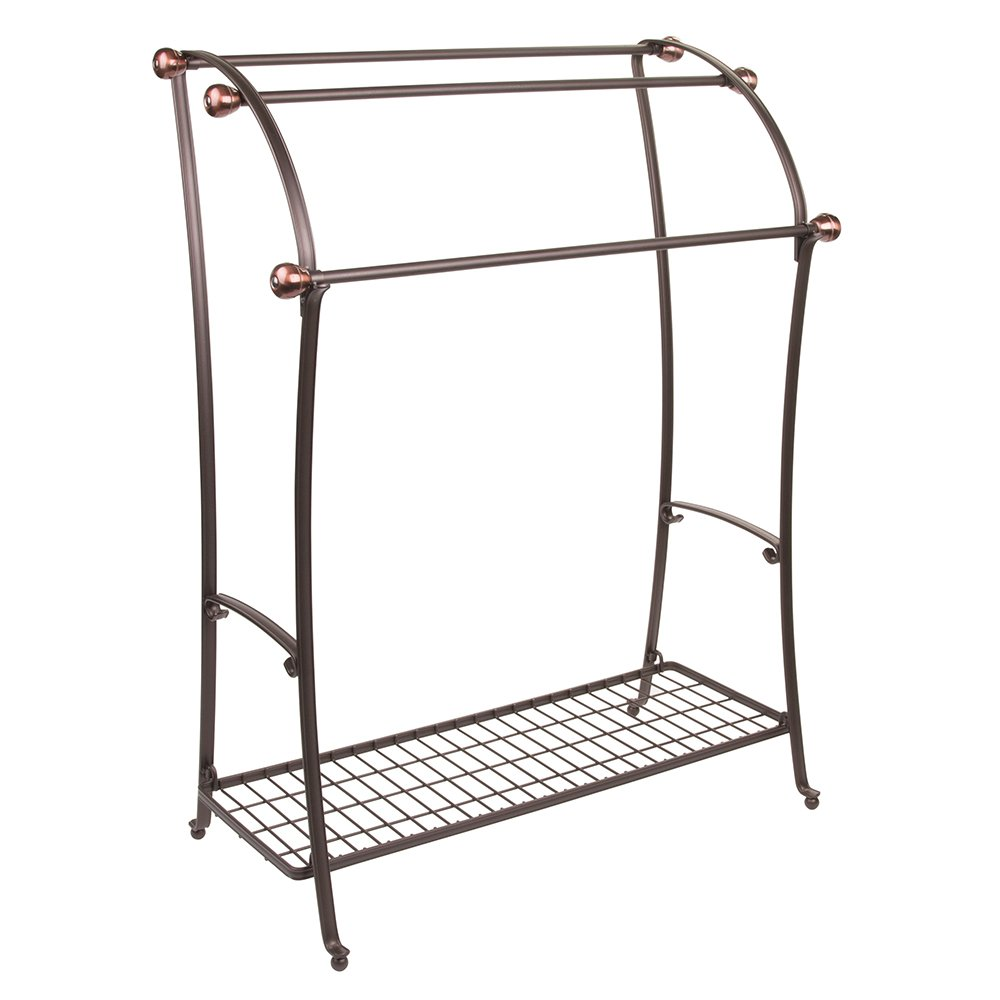 mDesign Large Freestanding Towel Rack Holder with Storage Shelf - 3 Tier Metal Organizer for Bath/Hand Towels, Washcloths, Bathroom Accessories - Brushed Metal Base with Bronze Accents