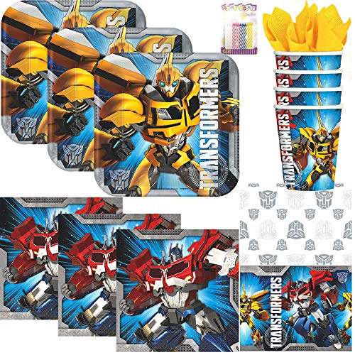 Transformers Party Supplies Pack Serves 16: Dessert Plates, Beverage Napkins, Cups, Table Cover, and Birthday Candles ()