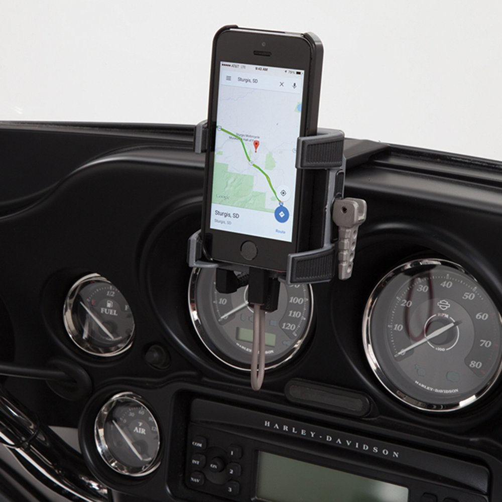 Ciro 50216 Black Fairing Mount Smartphone/GPS Holder with Charger for 1996-2013 Harley-Davidson FLHT/FLHX Touring Models by Ciro