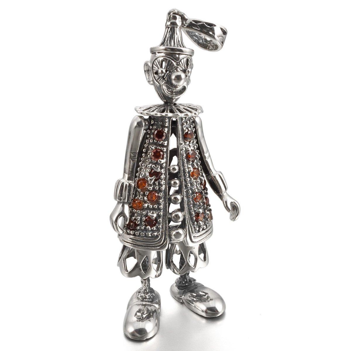 MunkiMix 925 Sterling Silver Pendant Necklace CZ Silver Clown Biker Men,23 inch Chain