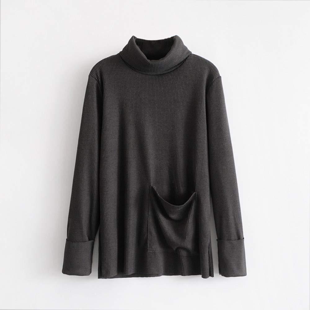 FUHENGMY Pullover Frauen-Herbst-Rollkragen-Strickpullover-   Weibliche Zufällige Lange Hülsen-Pullover-Taschen-Gestreifte Outwear Damenschuhe