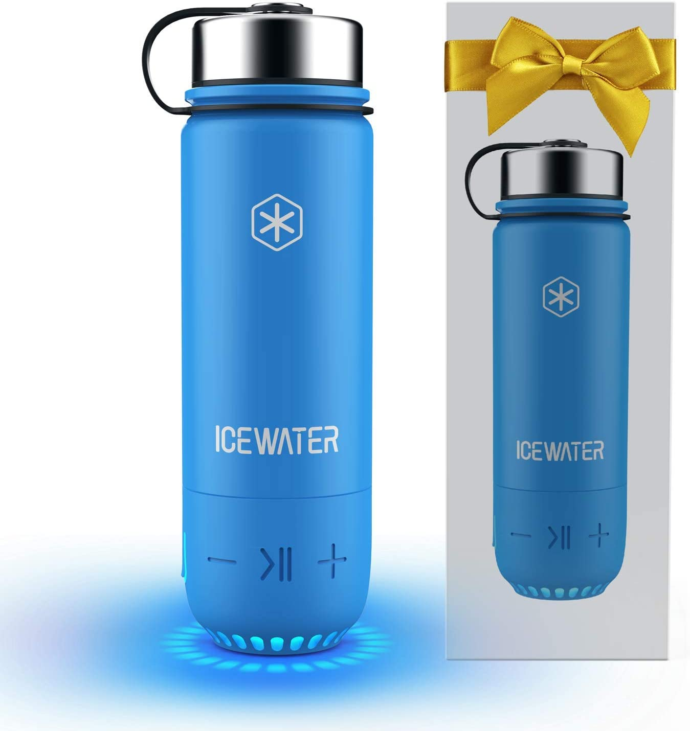 Icewater 3 In 1 Smart Stainless Steel Water Bottle Glows To Remind You To Stay Hydrated Bluetooth Speaker Dancing Lights 20 Oz Stay Hydrated And Enjoy Music Great Gift Blue Home Kitchen Amazon Com
