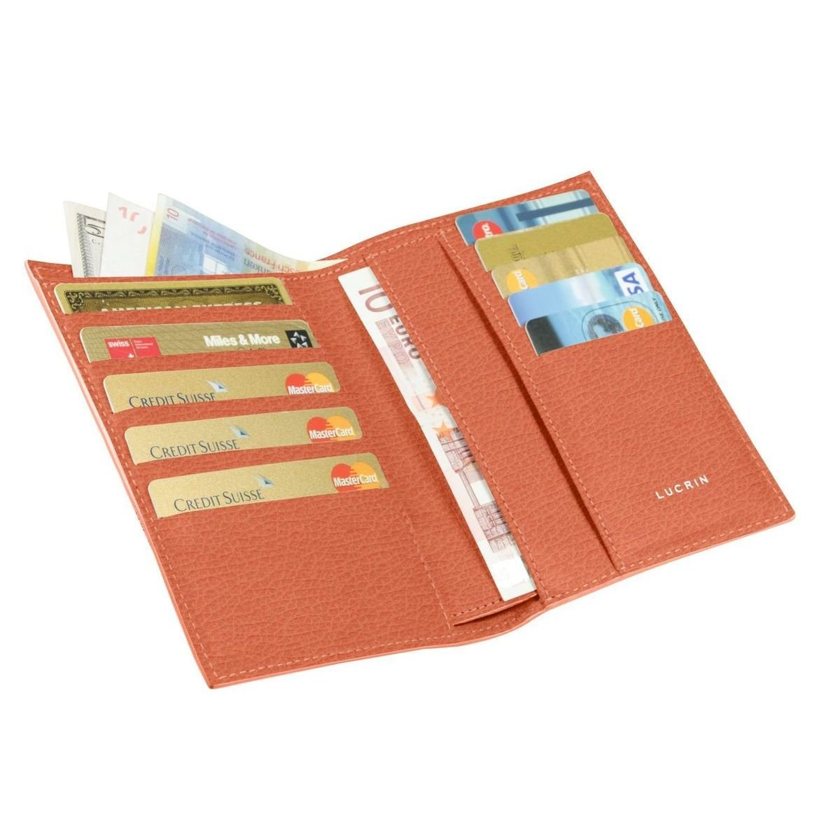 Lucrin - Wallet and card holder - Orange - Granulated Leather