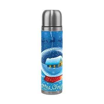 Alaza Galaxy Stars Doppelwandiger vakuumisolierter Edelstahl Wasser Flasche auslaufsicher Thermoskanne h/ält Getr/änke Hei/ß und Kalt Echt Leder H/ülle 17/Oz
