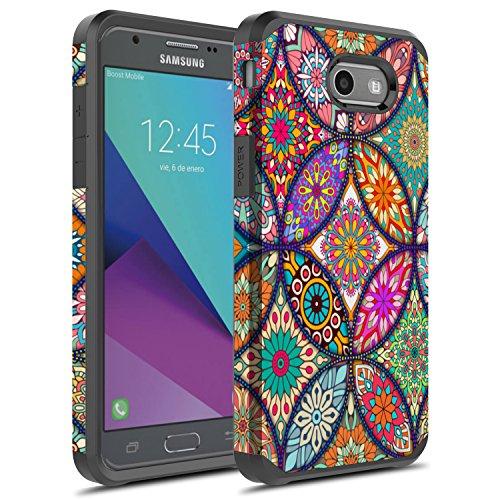 J3 Emerge Case, Galaxy J3 Prime Case, Galaxy Amp Prime 2/Sol 2/J3 Mission/J3 Eclipse/J3 2017/J3 Luna Pro Case, Rosebono Hybrid Shockproof Graphic Case for SM-J327 (Colorful Mandala)