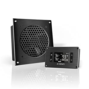 "AC Infinity AIRPLATE T3, Quiet Cooling Fan System 6"" with Thermostat Control, for Home Theater AV Cabinets"
