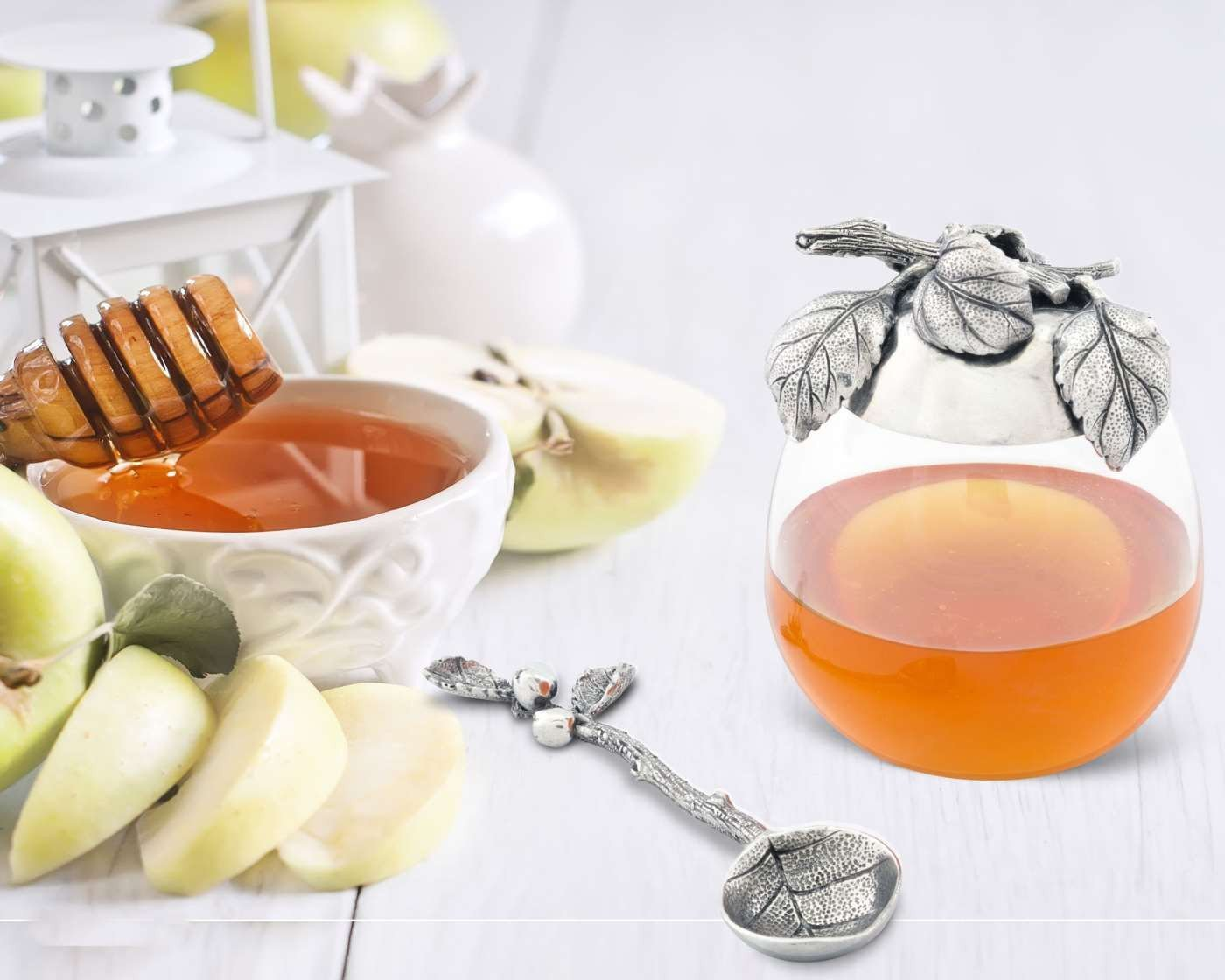 Vagabond House Pewter Apple Lid Honey Pot 10cm W x 13cm T B077PBB6TF