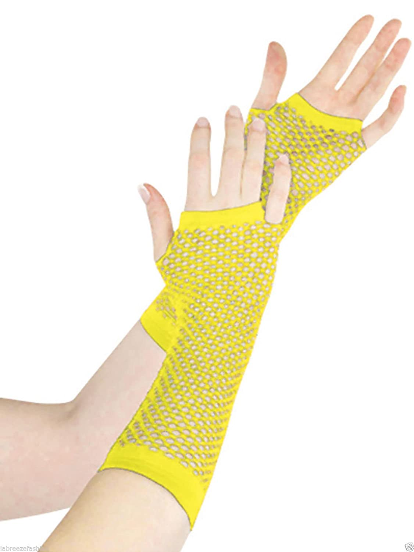 Ladies Girls Long Mesh Fishnet Fingerless GlovesElbow Long Glove Hen night Party wear Green