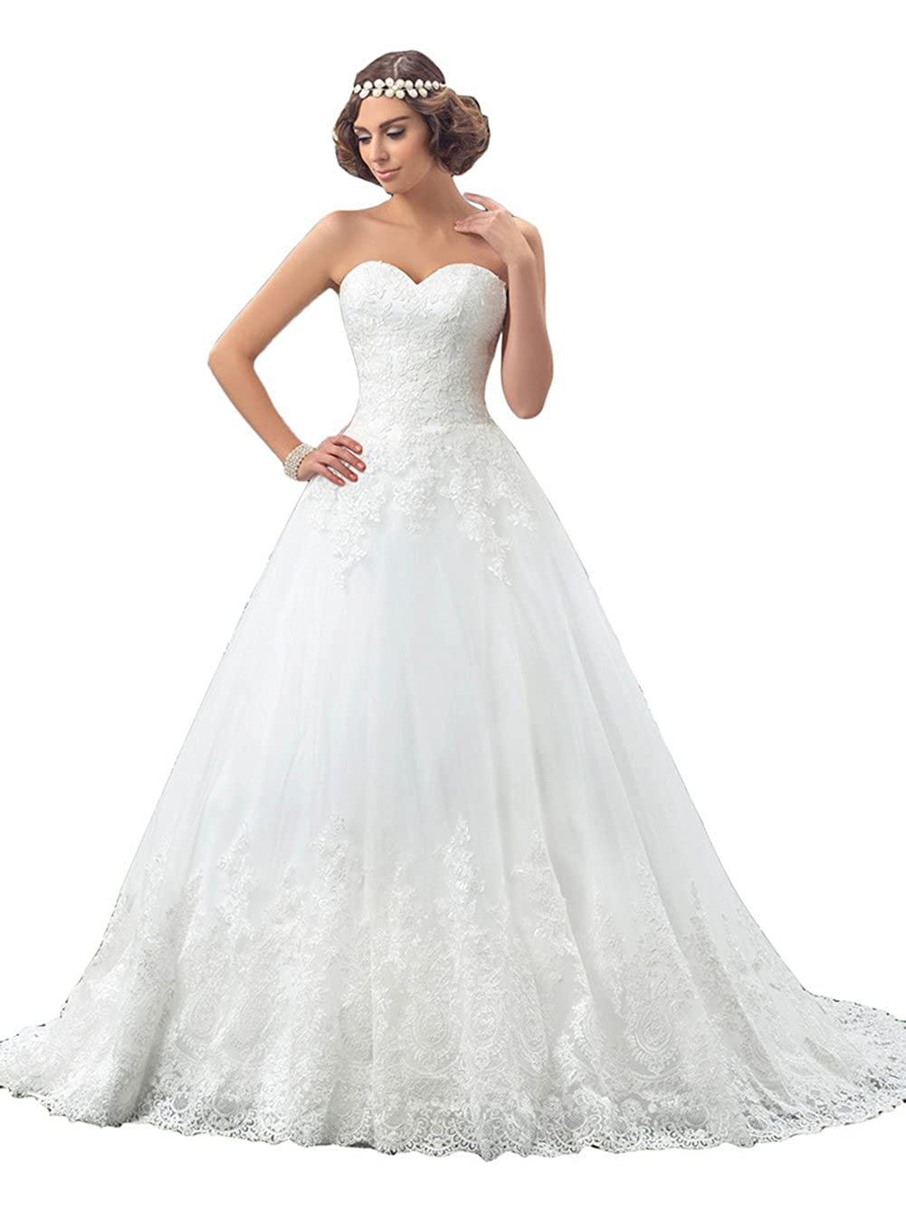 Annxrose Womens Long Strapless Sweetheart Lace Appliques Tulle A