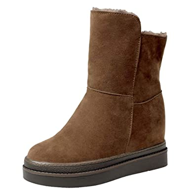 QinMM Zapatos Invierno Mujer Botas de Nieve Calzado Calentar Planas Más Terciopelo Casual Outdoor Aire Libre Deportes Botines Negro marrón: Amazon.es: ...