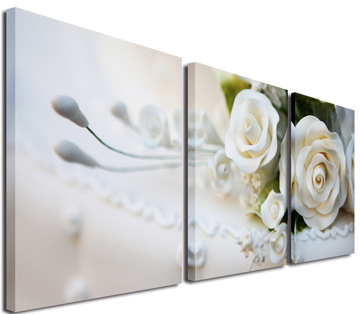 Mon Kunst 3 Piece White Roses Split Canvas Picture of Art Wall Canvas Artwork All Images on Large Wood Frames Home Decor Living Room 12'' x 12'' x 3 ( Stretched and Framed ) Ready to Hang