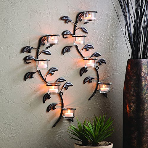 Hosley s Leaf 16-Inch Candle Holder Wall Sconce Plaque with Tea Lights (Set of 2) Home Garden ...