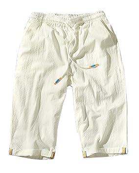 Bermudas Hombre Pantalones Cortos Chinos Pantalones Anchos Baggy Casual  Transpirable Pantalones De Lino Blanco 2XL 14794b152bee