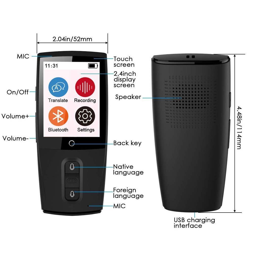 intelligenter /Übersetzer,2,4-Zoll-Touchscreen 45 Sprachen Genaue /Übersetzung Tragbarer intelligenter Echtzeit-Live-Chat Geeignet f/ür gesch/äftliche Telefonkonferenzen Instant Chat