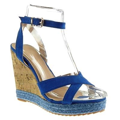 ca68c012ff9a9f Angkorly Chaussure Mode Espadrille Sandale Plateforme Femme Corde Liège  Lanière Talon Compensé ...
