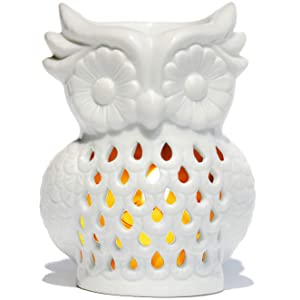 AI·X·IANG Ceramic Tea Light Holder, Aromatherapy Essential Oil Burner, Great Decoration for Living Room, Balcony, Patio,Office, Porch and Garden White Owl Shape