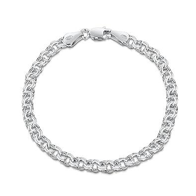 Amberta 925 Sterling Silver 2.2 mm Bismark Chain Bracelet Size 7