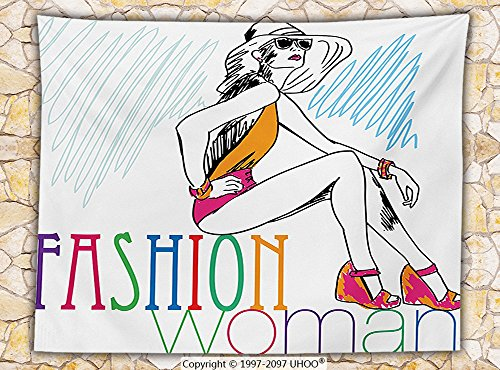 Fashion House Decor Fleece Throw Blanket Sketchy Illustration of an Lady Dressed Summer Swimsuits Hot Lady Girl Icon Throw Multi