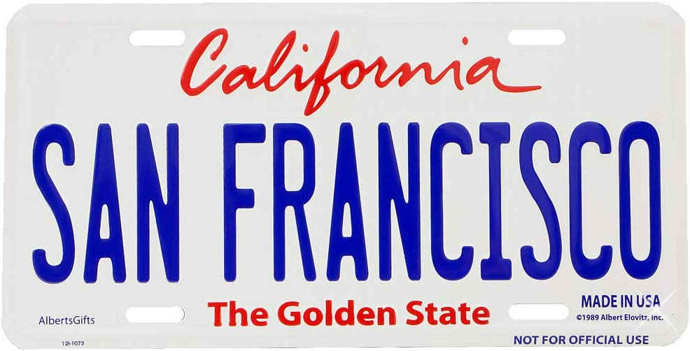 San Francisco License Plate Official size 6 x 12 Aluminum Embossed California License Plate
