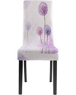 Homluxe Cartoon Printed Spandex Stretch Dining Room Chair Covers 4 Romantic Lavender