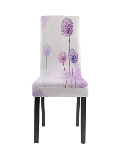 Homluxe Cartoon Printed Spandex Stretch Dining Room Chair Covers 2 Romantic Lavender