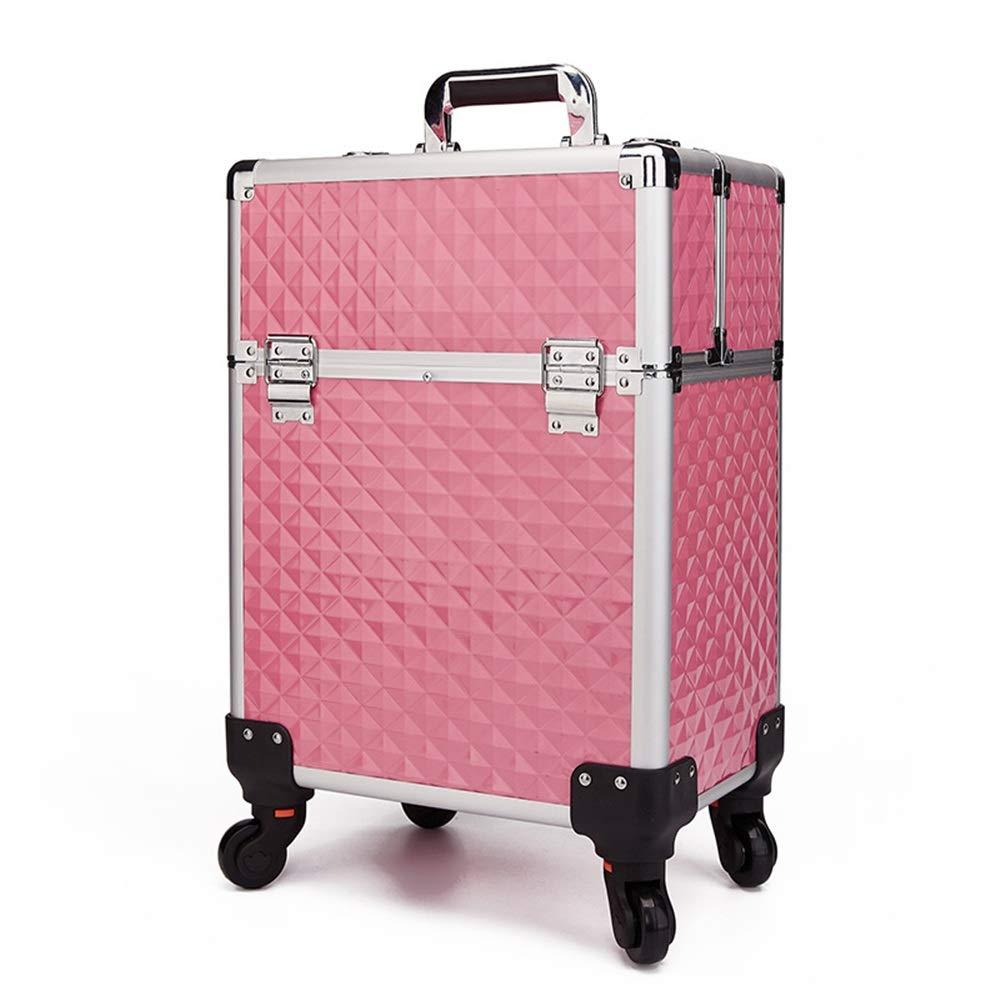 特大スペース収納ビューティーボックス 女の子の女性旅行のための新しく、実用的な携帯用化粧箱およびロックおよび皿が付いている毎日の貯蔵 化粧品化粧台 (色 : ピンク) B07TFGPZXN ピンク