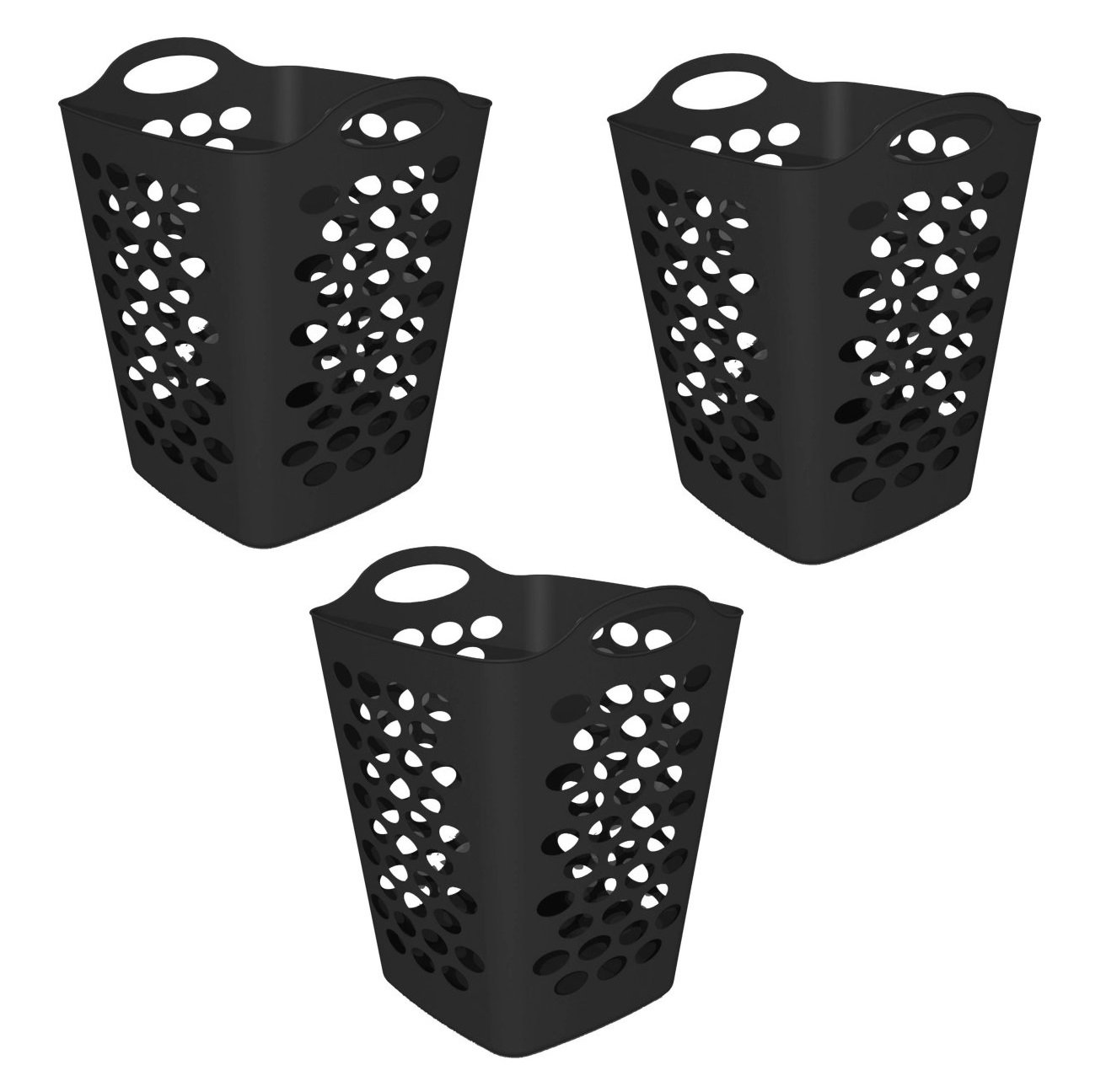 Mainstays 2 BU Flex Laundry Hamper, Black - 3 PIECES