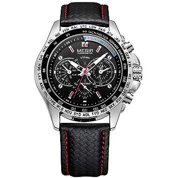 QRMH Negro Relojes para Hombres Deportes Casual Reloj De Cuarzo Negro Imitación Correa De Cuero Impermeable Reloj De Los Hombres,Black: Amazon.es: Deportes ...