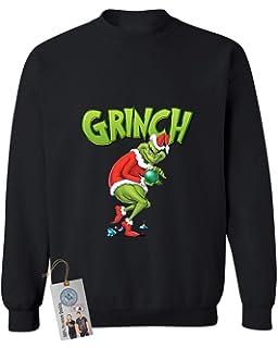 080403ac19 Amazon.com  Dr. Seuss Grinch As Santa Next to Tree Adult Off-White ...