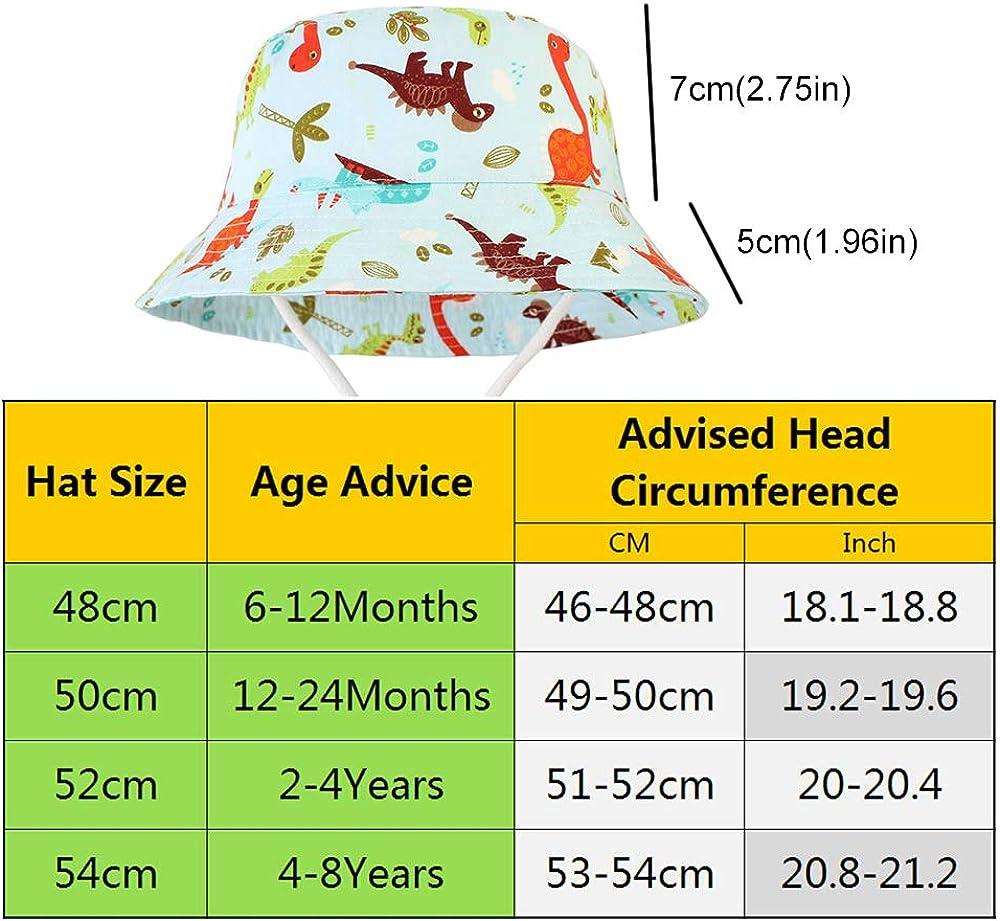 Kleinkind Fisherhut Jungen Sommerm/ütze mit Kinnriemen Dinosaurier H/üte LAPOPNUT Sonnenhut Baby M/ädchen und Jungen UV-Schutz//Gr/ö/ße von 48 bis 54CM