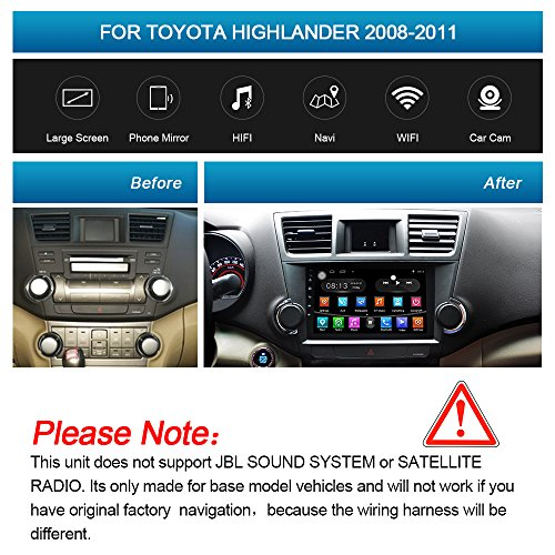 10.1'' Android Car Stereo Quad-core 1GB+16GB Player for Highlander 2008-2013 In-dash Navigation Bluetooth
