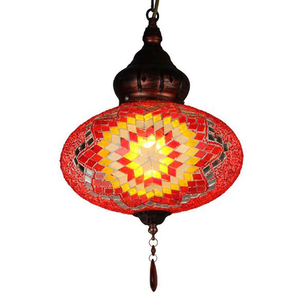 手作りモザイクシャンデリア、ティファニースタイルガラス吊り天井ランプトルコモロッコスタイルナイトライト(シングルグローブ) B07TVHWWNC