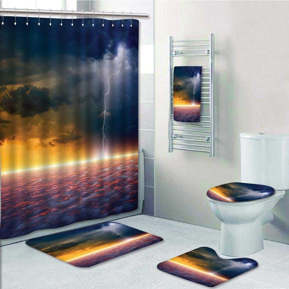 Printsonne 5-piece Bathroom Set-Includes Shower Curtain Liner, Apocalyptic Sky View End of the Sky Solar Flames Orange BluePrint Bathroom Rugs Shower Curtain/Bath Towls Sets(Medium size)
