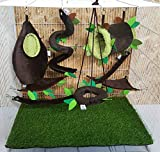 Brown Sugar Pet Store 7 piece Sugar Glider Cage Set Forest Pattern Dark Brown Color