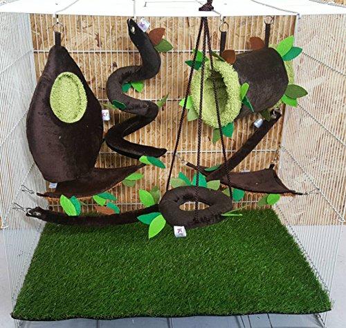 Brown Sugar Pet Store 7 piece Sugar Glider Cage Set Forest Pattern Dark Brown Color