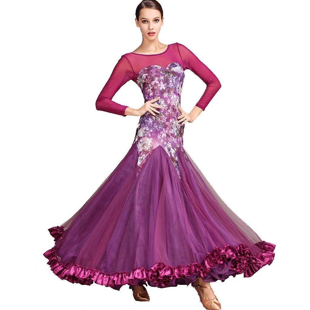 ワルツ社交ダンス プリントドレス 大人モダン 国家標準ダンス タンゴ 長袖ダンストレーニングスーツ (Color : 紫の, Size : XL) 紫の X-Large