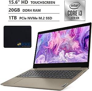 "2020 Newest Lenovo Ideapad 3 (S145 Updated Version) Laptop, 15.6"" HD Touchscreen, 10th Gen Intel Core i3-1005G1 Processor, 20GB Memory, 1TB SSD, HDMI, Wi-Fi, Webcam, Windows 10, KKE Mousepad, Almond"