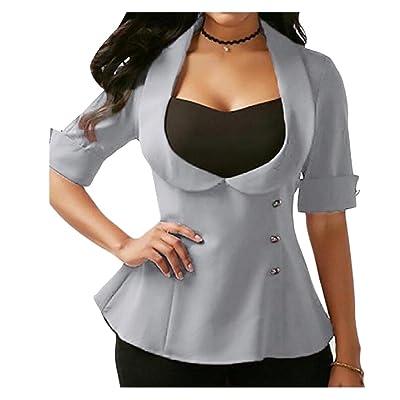 Abetteric Women's OL Office Smocked Waist Lace Up Detail Blazer Jacket