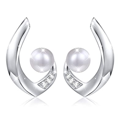 b53abd9b6 Pearl Earrings Flyow Fashion Jewelry, 925 Sterling Silver Gift for Women (C  shaped): Amazon.co.uk: Jewellery