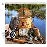 Fly Fishing Shower Curtain NYMB Rustic Fishing Shower Curtain Sets, Man's Fly Fishing Tool on The Wooden Pier by The Lake, Lifestyle Decor Shower Curtain Bathroom Accessories, Waterproof Fabric Bath Curtain, 69X70inches
