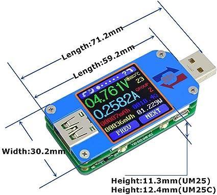 Um25c Um25 Usb 2 0 Typ C Farbe Lcd Voltmeter Amperemeter Spannungs Strom Meter Batterie Lade Messen Kabelwiderstand Tester Küche Haushalt