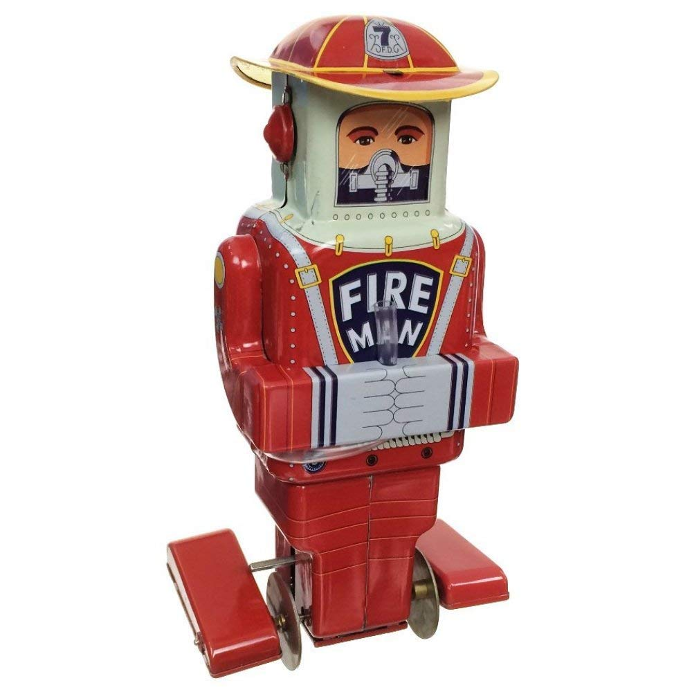 TinToyArcade Fireman Robot Tin Toy
