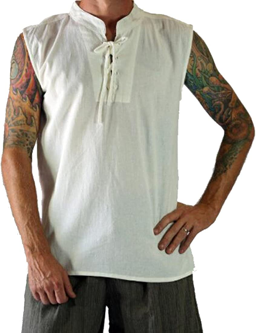 WAWAYA Mens Sleeveless Relaxed Fit Vintage Casual Lace up Medieval Cotton Linen T-Shirt Tee