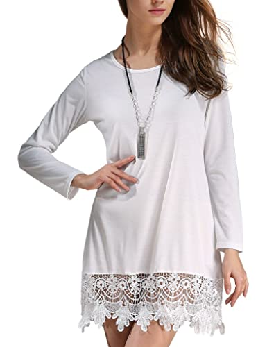 Match Women's Long Sleeve Lace Loose Stitching Trim Casual Dress