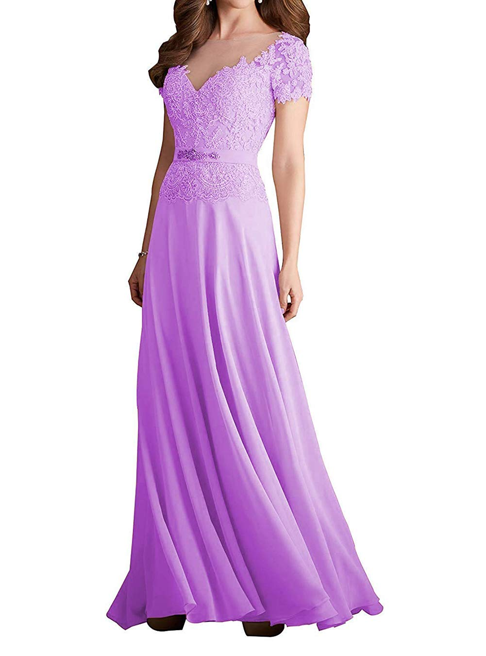 12a4435cc09 ... Women s Short Sleeves Bridesmaid Dresses A-Line Long Evening Formal  Gowns UG128 Lilac Size 8.   