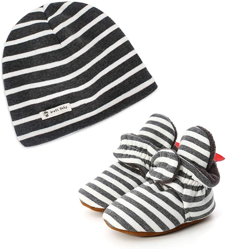 LACOFIA Baby Boys Girls Soft Sole Slipper Booties and 100/% Cotton Beanie Hat Pack 2