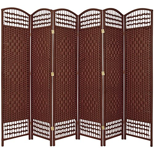 Oriental Furniture 5 1/2 ft. Tall Fiber Weave Room Divider - DarkRed - 6 Panel (3 Panel Diamond Room Divider)