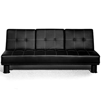 Wondrous Small Double Faux Leather Sofa Bed With Fold Down Drinks Table Futon Multi Colours Black Sf13005 D01 Cjindustries Chair Design For Home Cjindustriesco