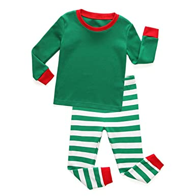 kinybaby boys girls 2 piece christmas pajamas set cotton striped kids pjs outfit green white 2t